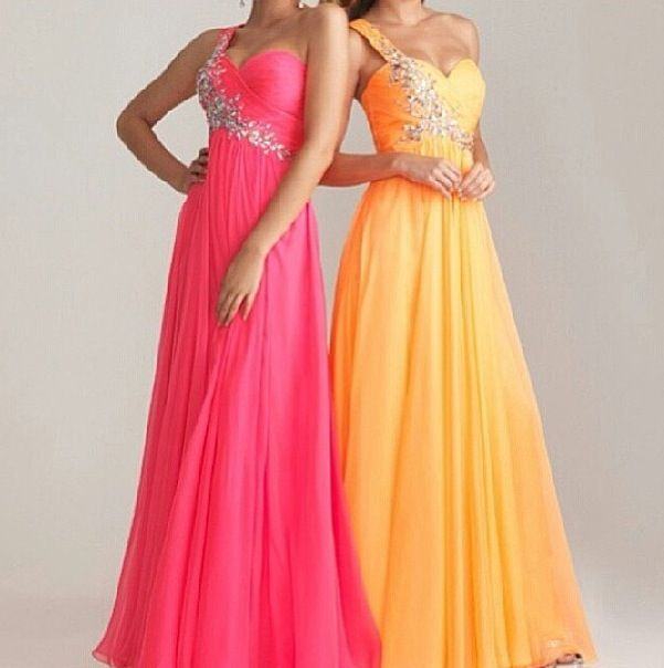 Pink and orange prom dresses evening gowns pinterest for Pink and orange wedding dresses