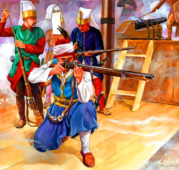 Ottoman Janissaries on board a war galley, Battle of Lepanto