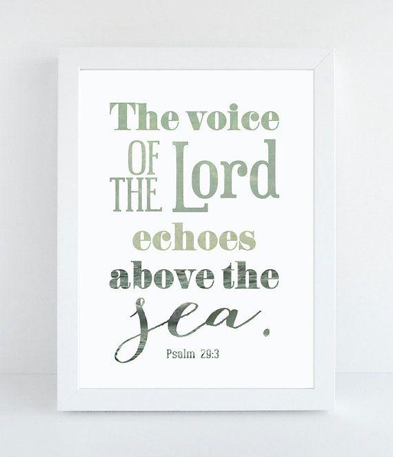 Bible Verse Art - Psalm 29:3 - Scripture Print - Scripture Poster - Inspirational Wall Art - Christian Home Decor - Typographic Art Print
