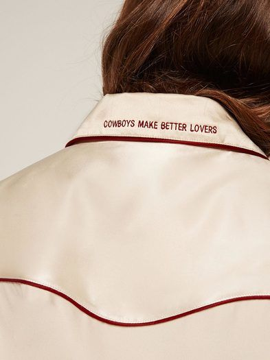 Cowboys make better lovers. This is a long sleeve, button front shirt with embroidery on the back collar.http://bit.ly/2iFfzef