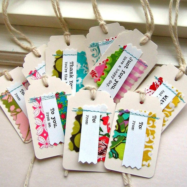 Gift Tags Tags Paper and Fabric Gift Tags Sewn by tracyBdesigns