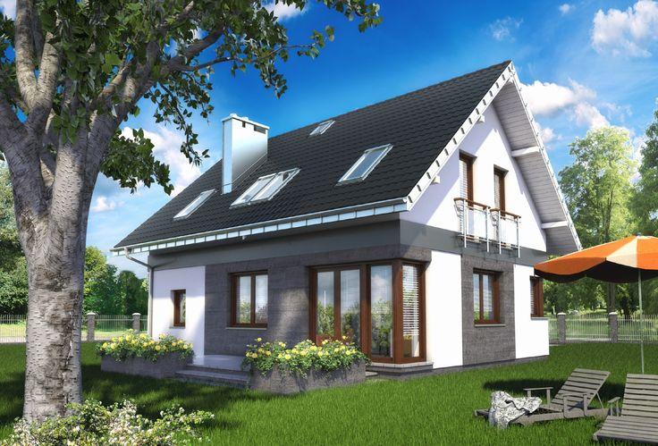 Projekt domu Zojka Nano pod jednym, dwuspadowym dachem zamyka część mieszkalną i gospodarczą. Energooszczędna bryła bez balkonów, na parterze, mieści strefę dzienną i garaż z kotłownią. Detale architektoniczne: dach bez lukarn, narożne okna i płaski, przejrzysty daszek nad wejściem podkreślają nowoczesną stylistykę domu.