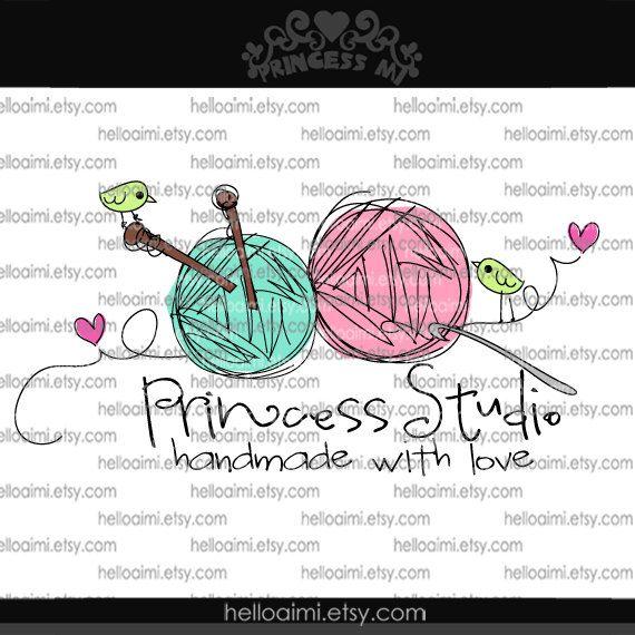 Custom Premade Logo Design - sketch ball of yarn knitting needle crochet hook photography business boutique by princess mi logo1175-71