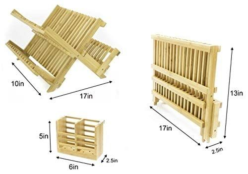 Adorn Home Bamboo Cutlery Plate And Utensil Drying Dish Rack