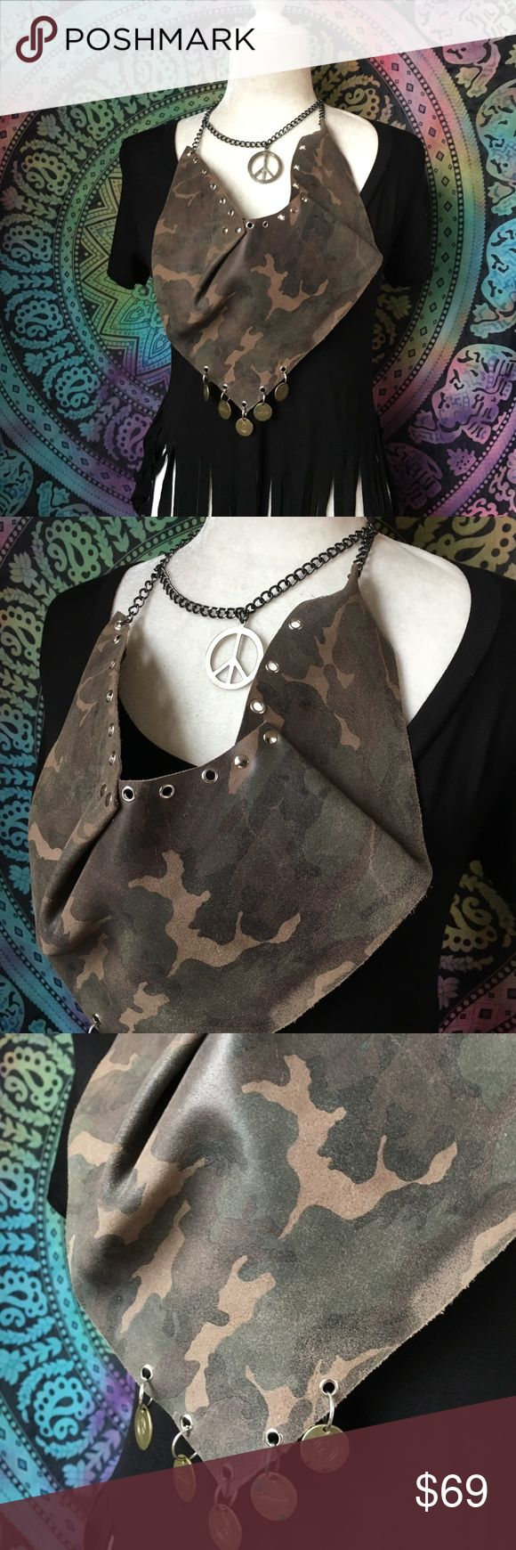 Leather camo necklace scarf Peace not war leather camo scarf. This was an art inspired piece for my collection. Mixing camo with peace signs in a statement of peace not war. One of a kind all handmade. Accessories Scarves & Wraps