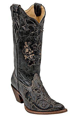 Corral Ladies Distressed Black w/ Black Lizard Inlay Western Boots