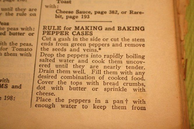 """THe History of Bell PeppersCheck out the 1946 Stuffed Pepper """"Vessels"""" recipes from Joy of Cooking."""