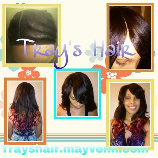 """Before and after.  Invisible part weave Brazilian hair (18"""",20""""&22"""") ^^Trayshair.mayvenn.com^^ Bleached and customized tint of orange (18""""), magenta (20""""), and royal blue (22""""). By: Tray #California #Losangeles #Nevada #Lasvegas #mobilehairstylist #haircolor #blue #orange #magenta #hair #brazilianhair #haircare #Trayshair #idoweaves #ibraid #color #weaves #braids #beauty #mobilehairstylist #nohairleftout"""