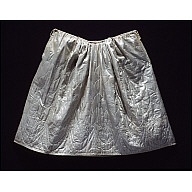 """Petticoat, quilted blue satin  1750-1775  Origin: England  OL 35"""" Waist 22""""  Silk satin; glazed natural tabby wool back; natural wool batting.  Museum Purchase    Acc. No. 1941-211,2"""