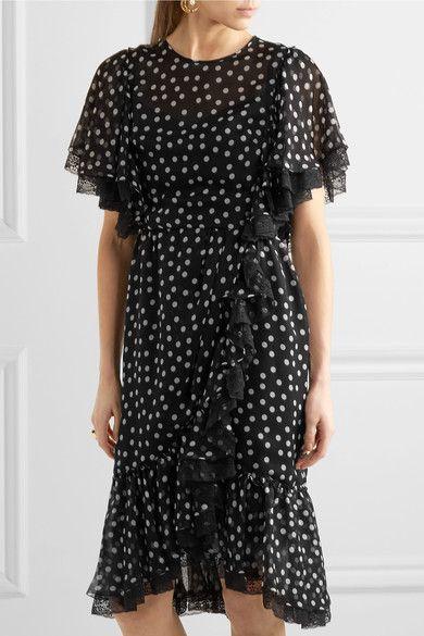 Dolce & Gabbana - Lace-trimmed Polka-dot Silk-blend Chiffon Dress - Black - IT38
