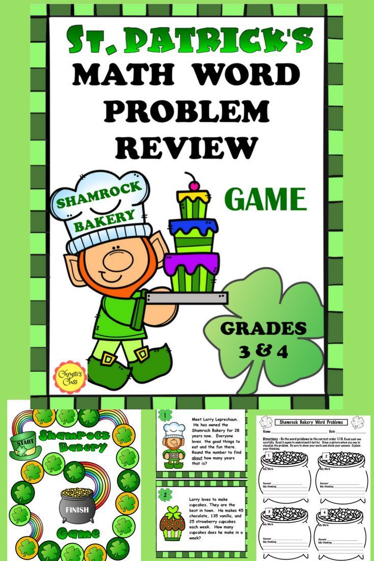 Super Fun Math Task Card Game With Larry Leprechaun And His Shamrock Bakery Lots Of Great Math Practice That Co Math Word Problems Math Words Word Problems [ 1102 x 735 Pixel ]