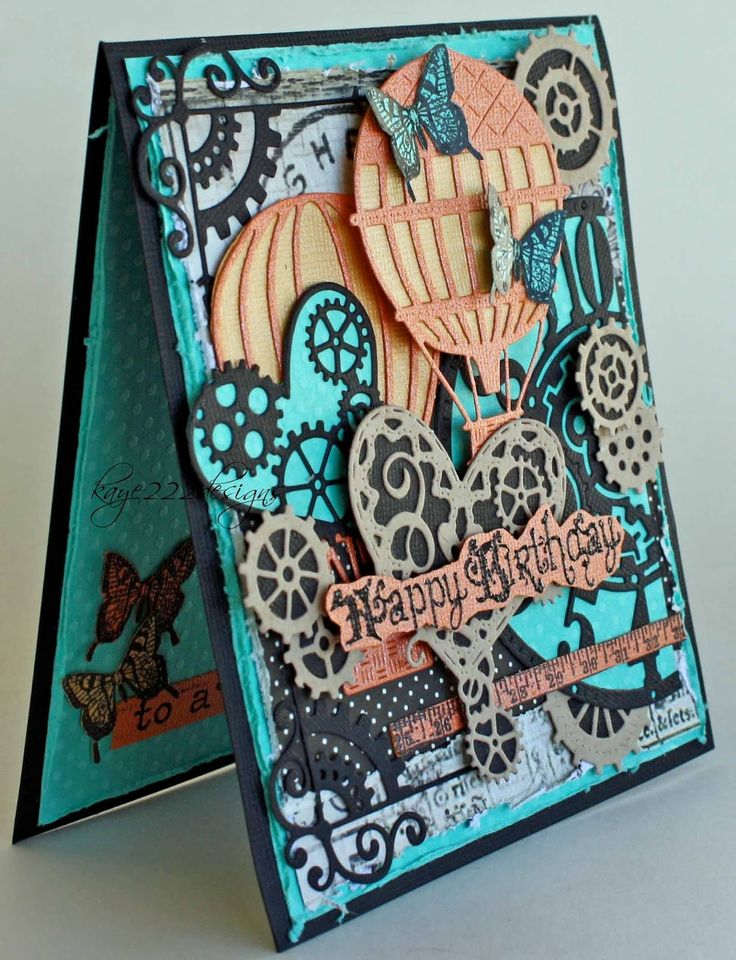 #cheeryld Hi, Its Lisa here this week sharing with you a fun steampunk card using several diecuts from Cheery Lynn Designs. I usually make a card only once. However, I LOVE how this one turned out that I'm going to have to make another for my own stash. :)  Diecuts Used:  B357 Clock W/Angel Wing B340 Gears (Set of 9) B437 Steampunk Corner Left & Right (Set of 2) B360 Hot Air Balloons W/Angel Wing B378 Heart's & Gears www.CheeryLynnDesigns.com