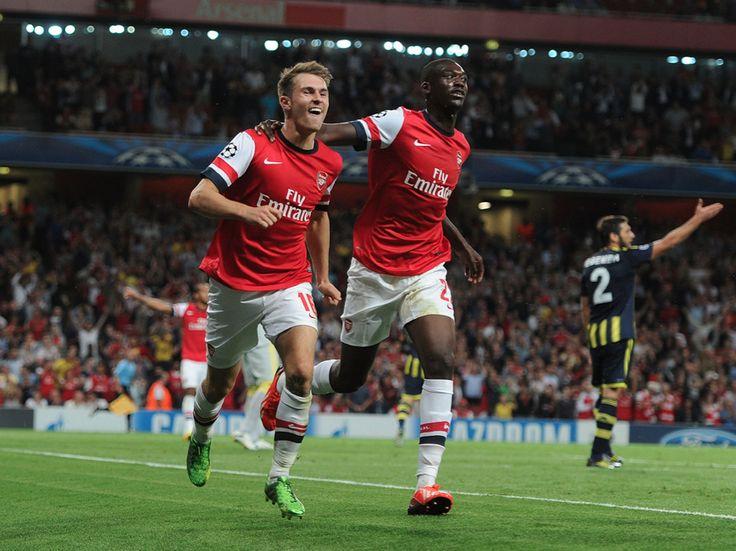 Aaron Ramsey celebrates his 2nd goal with Yaya Sanogo. Arsenal 2-0 Fernerbahce, agg 5-0 (August 2013) by Stuart MacFarlane