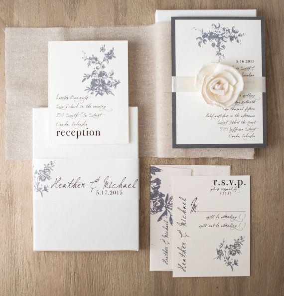 "Rustic Ivory Wedding Invitations, Elegant Boxed Wedding Invitations, Ivory, Taupe, Gray ""All White Box Invite"" Sample - NEW LOWER PRICE!"