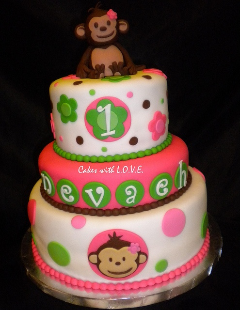 cute monkey cake idea for maddie's 1st bday party :)