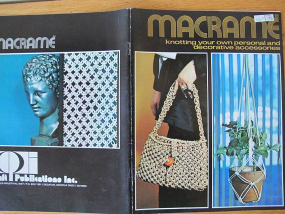 Great selection of 13 macrame projects for home accessories, purses, belts and trim. 1971 edition. 32 pages. Very good condition. No tears, no odours.  All items are shipped via Canada Post letter mail. Shipping does not include tracking or insurance.  All of my vintage items are sold