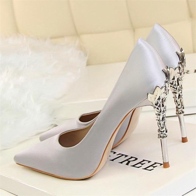 8f5285ee24 BIGTREE Metal Carved Women Shoes Sexy High Heels Solid Silk Women ...