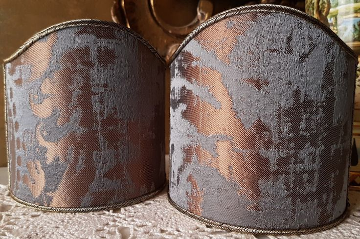 Pair of Clip-On Shield Shades Lead Grey and Bronze Jacquard Rubelli Fabric Gritti Pattern Mini Lampshade - Made in Italy by OggettiVeneziani on Etsy