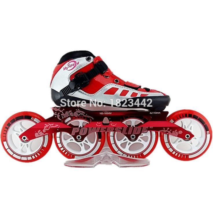 Velocidad hechos a mano zapatos de patinaje inline rodillo rojo y negro patines…