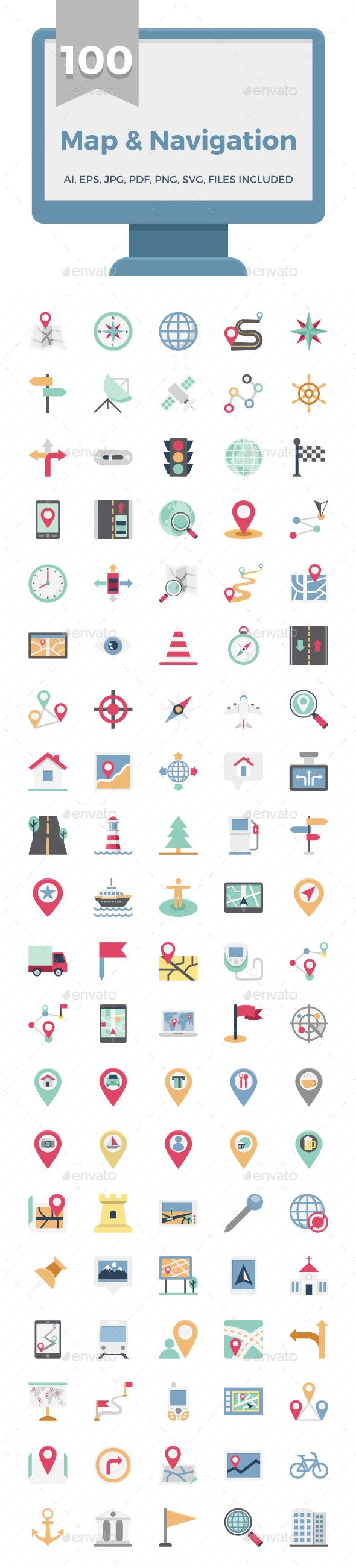 100 Map and Navigation Color Icons