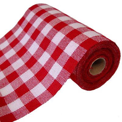 Faux Burlap Check Fabric Roll 9.5 x 10 yards Red Cream $11.99