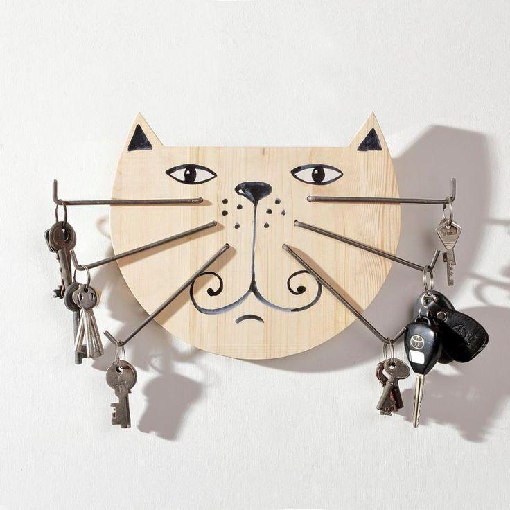 Original Wood Key Holder Big Cat with Iron Moustache by SundukFlo on Etsy