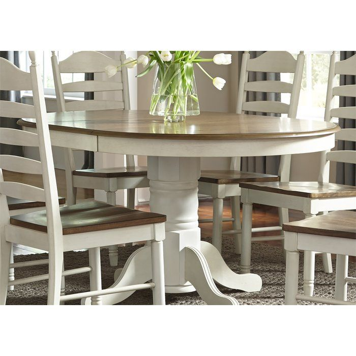 Ruskin Extendable Dining Table Dinette Tables Pedestal Dining Table Chic Kitchen