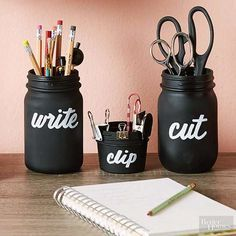 We all know someone who can use a little more desk organization (or maybe that someone is you?). Organizing is made more exciting with these labeled glass jars. Simply spray the jars with three coats of chalkboard paint. Once the paint is dry, label each jar with a chalk pen. If hand-lettering isn't for you, you can add white adhesive letters in your favorite font to label the jars instead. /