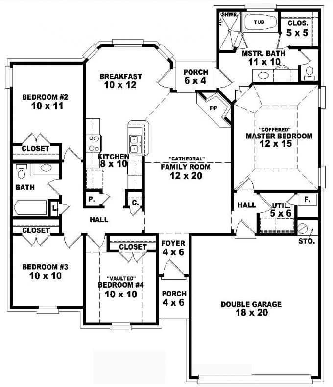 One story 4 bedroom 2 bath traditional style house plan for 4 bedroom floor plans