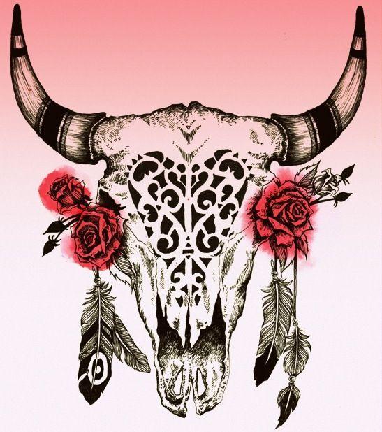 Buffalo skull with roses