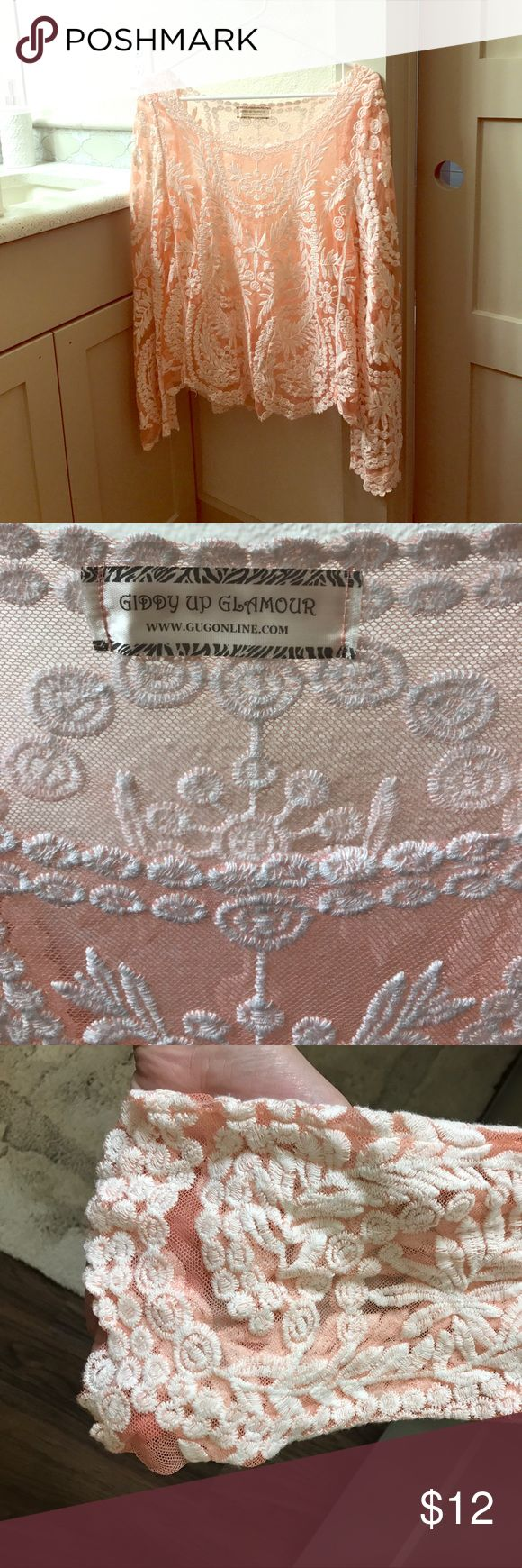 Light Pink and Cream Lace Top Beautiful light pink and cream lace top with slightly flared long sleeves and open neckline. Never worn! Giddy Up Glamour Tops Blouses