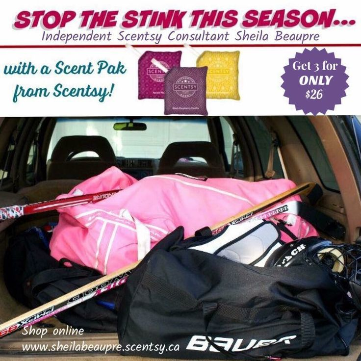 HOCKEY PARENTS are you dreading lugging  those stinky hockey bags into your vehicles?? Let #Scentsy help you stop that stenchy gear bag stink!  39 fabulous fragrances to choose from!!   Grab a 3 pack and keep those gear bags fresh all season!!  Easy online ordering available at my personal Scentsy website = Direct delivery right to you!! https://sheilabeaupre.scentsy.ca/product/build?sku=MP-3SP