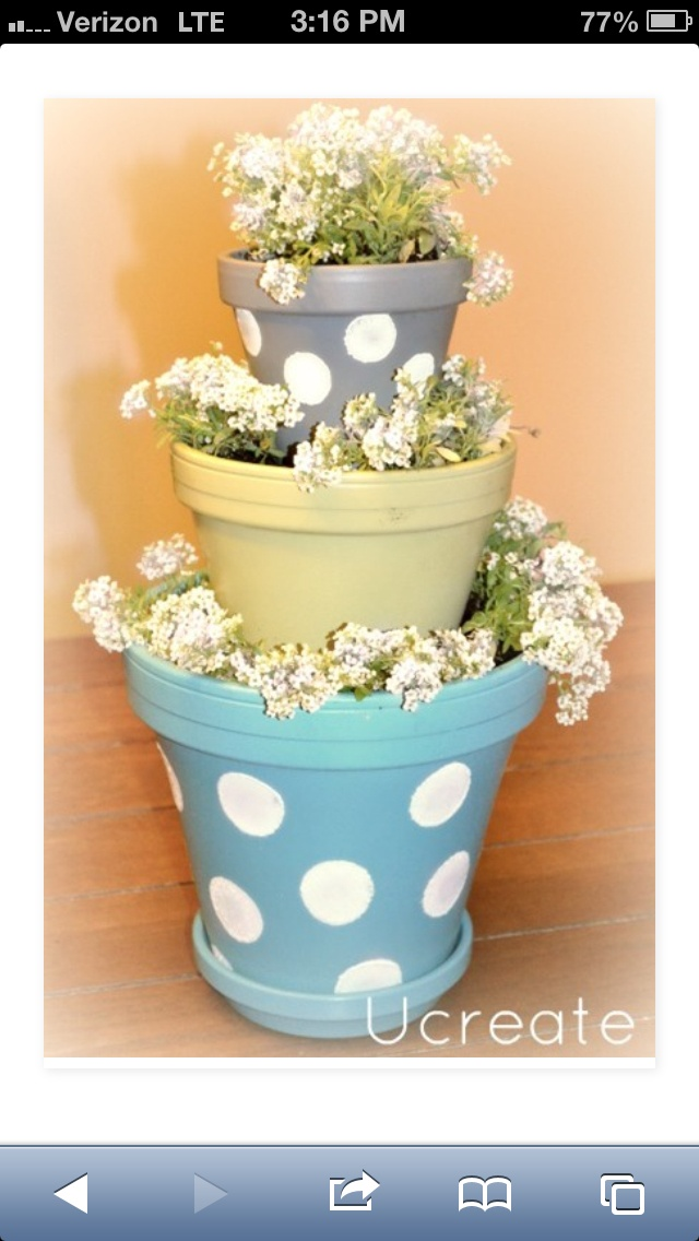 mini flower pot baby garcia pinterest flower stacked flower pots and painting clay pots. Black Bedroom Furniture Sets. Home Design Ideas