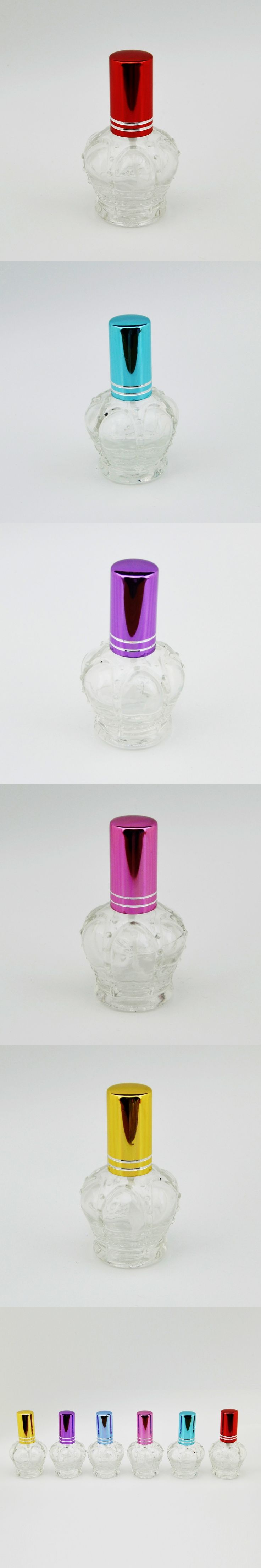 15ML High Quality 6 Colors Refillable Clear Glass  Spray Perfume Bottle Empty Imperial Crown Parfum  Case