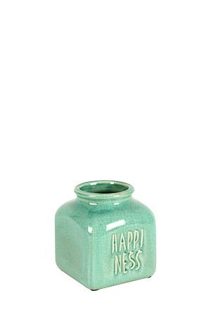 """Our ceramic short bottle vase with crackle finish and embossed script detail makes the perfect decorative on your mantle piece or side table to add a pop of colour and a beautiful feminine touch.<div class=""""pdpDescContent""""><BR /><b class=""""pdpDesc"""">Dimensions:</b><BR />L13xW13xH15.5 cm</div>"""