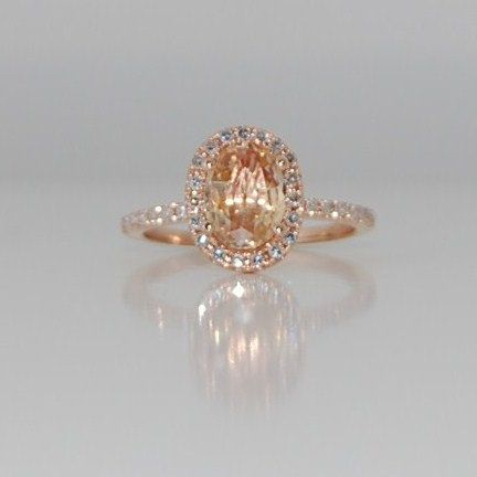 Oval champagne peach sapphire diamond ring 14k rose gold. $1,450.00, via Etsy. Soo gorgeous!