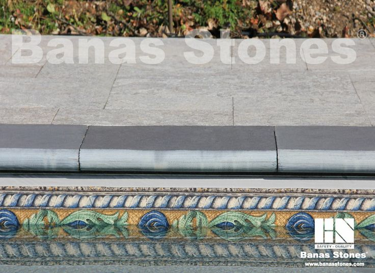 Banas Kota Black Coping and Banas Silver Grey Square Cut Pavers Available at our store at 3500 Mavis Rd, Mississauga, ON L5C 1T8