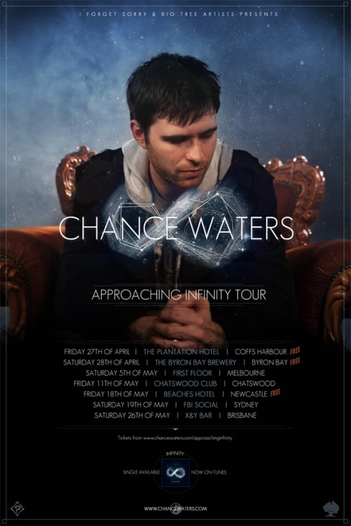 Following the release of the title track from his soon to be released sophomore album, Infinity, Sydney hip-hop artist Chance Waters (formerly Phatchance) announces that he will hit the road for a series of East Coast shows this April and May. Infinity is produced by Adelaide artist-to-watch One Above, who recently produced The Hilltop Hoods' #1 Single 'I Love It ft. Sia' as well as numerous songs from Chance's debut LP, Inkstains.