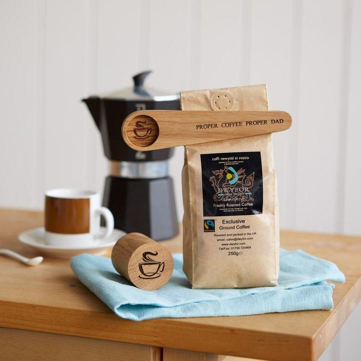 Solid Oak Personalised Coffee Scoop, Tamper Gift Set