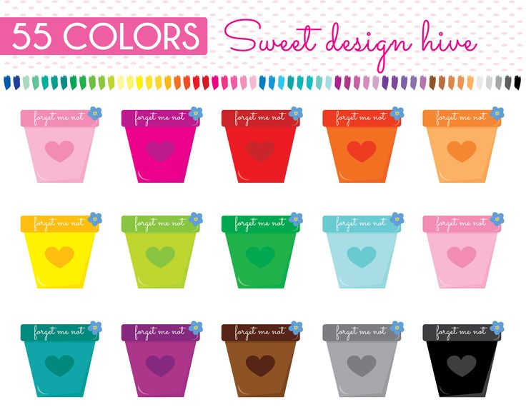 Flower Pot Clipart, Plant Pot Clipart, Pot Clipart, Rainbow, Planner Stickers, Commercial Use,  PL0118 by Sweetdesignhive on Etsy