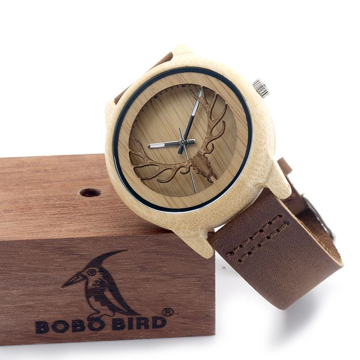 2016 Deer Head WIth Hollow Out Technology Bamboo Wood Casual Watch With Genuine Leather Strap Quartz Watch With Gift Box Like and Share if you agree!  #shop #beauty #Woman's fashion #Products #Watch