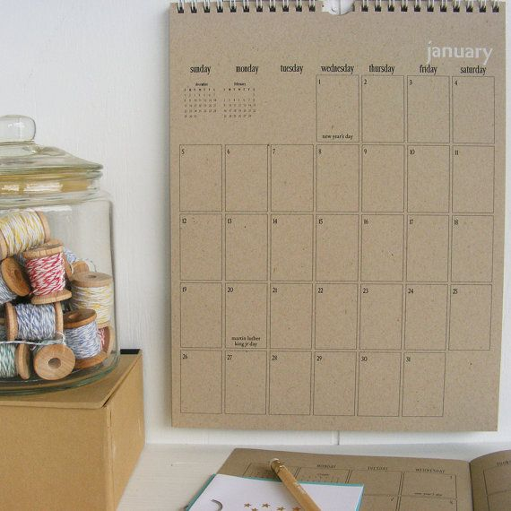 2014 kraft wall calendar  large by lettercdesign on Etsy, $24.75
