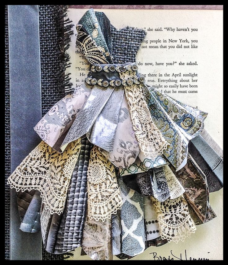 Original pinners excellent first paper dress...added antique lace, old book page, vintage necklace trim, vintage ribbon and gray burlap...in a shadowbox frame....my favorite