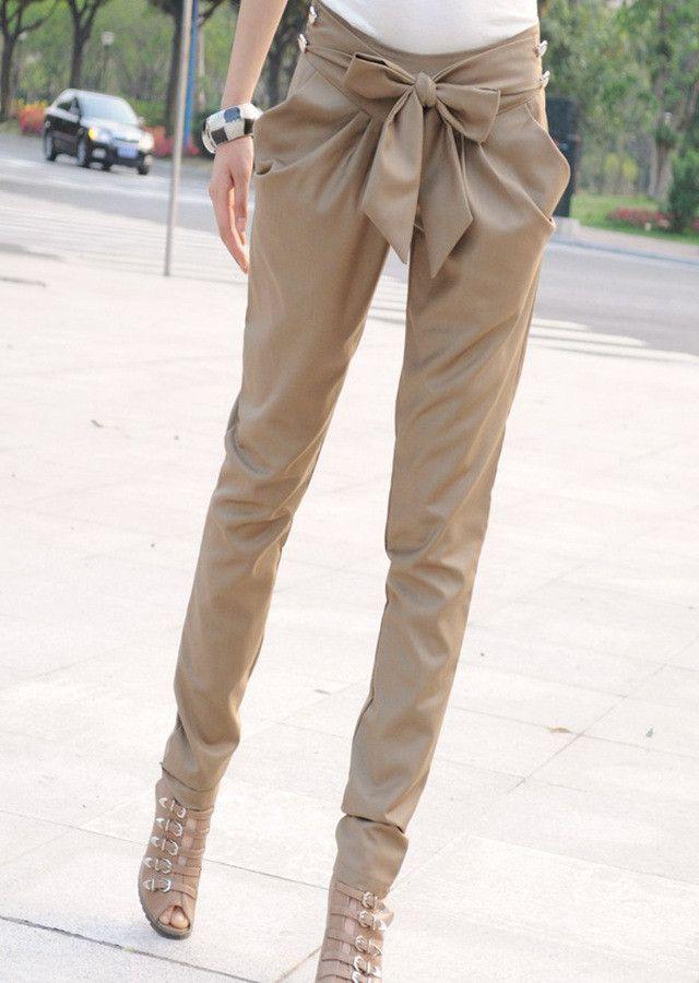 Bowknot Casual Pure Color Women Harem Pants