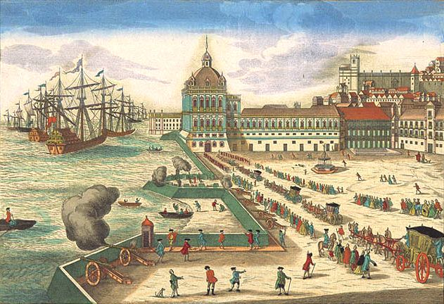 Ribeira Palace in its mid-18th century Mannerist and Baroque form, only years before its destruction in the 1755 Lisbon earthquake.