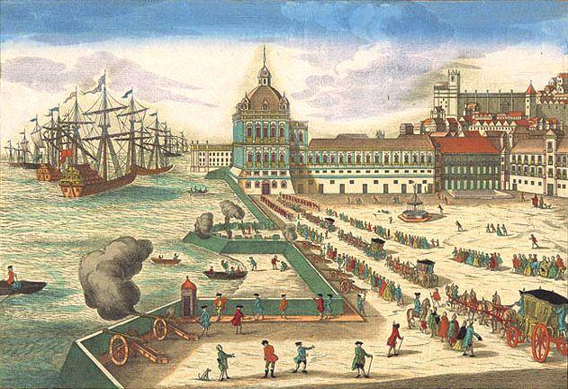 Terreiro do Paço (Paleisplein), stadsdeel Baixa, Lisboa. Het koninklijk paleis, vroege 18de eeuw