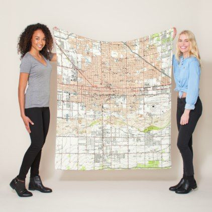 Vintage Map of Phoenix Arizona (1952) Fleece Blanket - vintage gifts retro ideas cyo