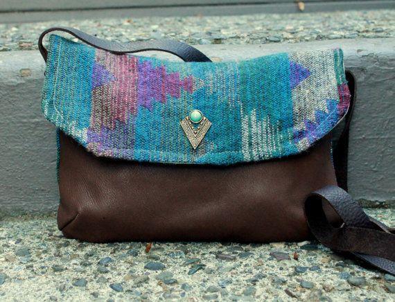 Leather crossbody bag native and aztec print  FREE by Keyaiira