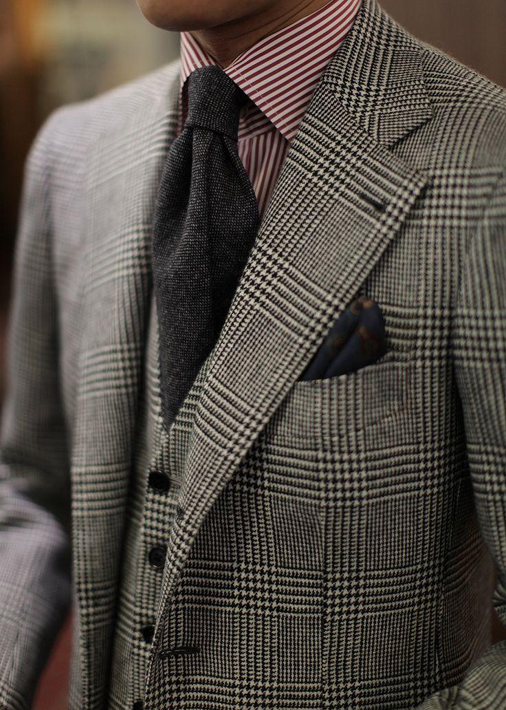 bntailor: Glen Plaid 3P Suit by B&Tailor Errico Formicola cashmere tie for B&Tailorshop