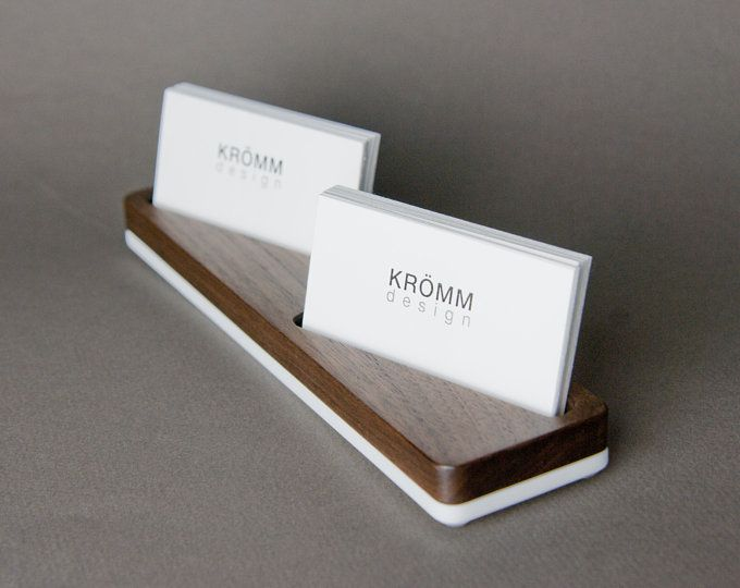 Wood Two Row Business Card Holder For Front Desk Wood Business Card Stand Multiple Business Card Display Walnut Wood Card Holder Wood Business Card Holder Wood Business Cards Business Card Stand